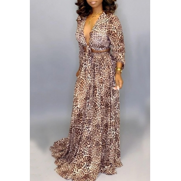 Lovely Sexy V Neck Knot Design Leopard Printed Two-piece Skirt Set