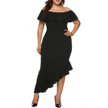 Lovely Casual Asymmetrical Flounce Design Black Ankle Length Dress