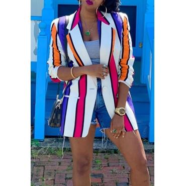 Lovely Casual Striped Multicolor Blazer