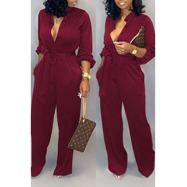 Lovely Work Lace-up Loose Wine Red One-piece Jumpsuit