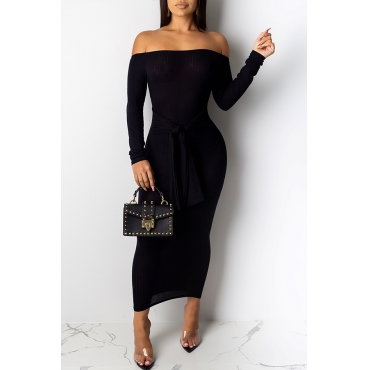Lovely Casual Dew Shoulder Black Ankle Length Dress