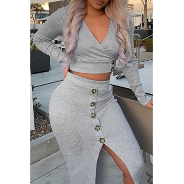 Lovely Casual V Neck Buttons Decorative Grey Two-piece Skirt Set