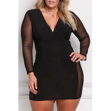 Lovely Casual See-through Black Plus Size Mini Dress
