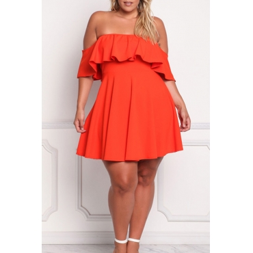 Lovely Trendy Dew Shoulder Orange Red Plus Size Mini Dress