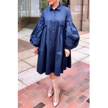 Lovely Casual Turndown Collar Ruffle Design Navy Blue Knee Length Dress