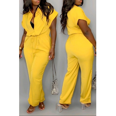Lovely Casual Drawstring Design Yellow One-piece Jumpsuit