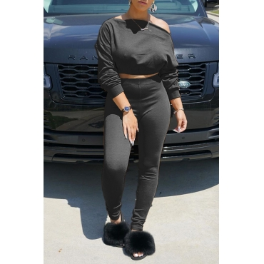 Lovely Chic Off The Shoulder Basic Black Two-piece Pants Set