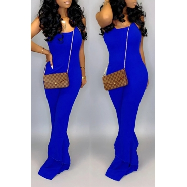 Lovely Casual Flounce Design Blue One-piece Jumpsuit