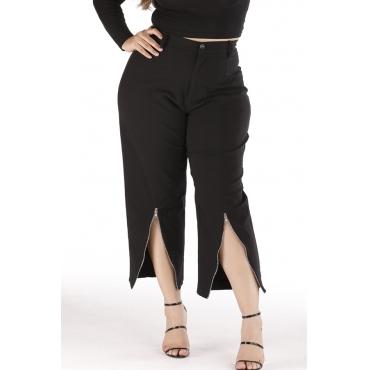 Lovely Trendy Zipper Design Black Plus Size Pants