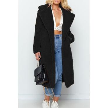 Lovely Casual Winter Long Black Coat