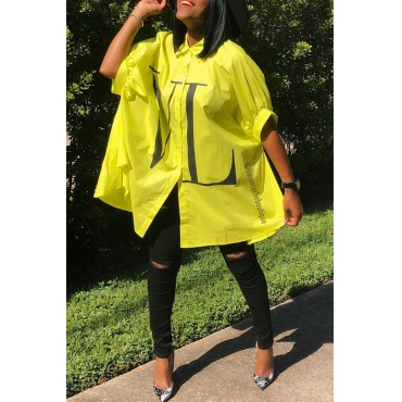 Lovely Casual Turndown Collar Loose Yellow Blouse