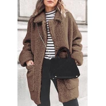 Lovely Trendy Pockets Design Light Tan Coat