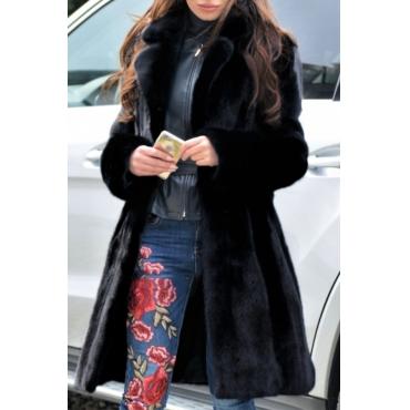 Lovely Trendy Winter Long Black Coat