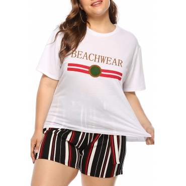 Lovely Casual Letter Printed White Plus Size T-shirt