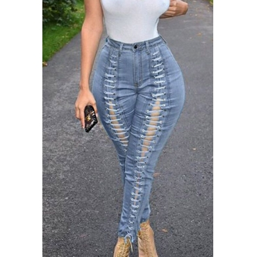 Lovely Casual Bandage Design Blue Jeans