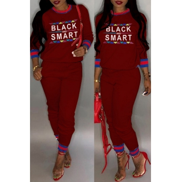 Lovely Casual Letter Printed Wine Red Two-piece Pants Set