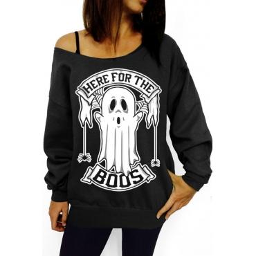 Lovely Casual Printed Black Sweatshirt  Hoodies
