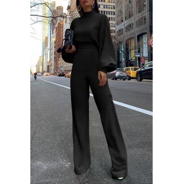 Lovely Casual Puff Sleeves Black One-piece Jumpsuit