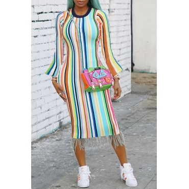 Lovely Casual Striped Multicolor Mid Calf T-shirt Dress