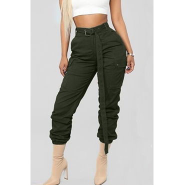 Lovely Casual Lace-up Deep Green Pants