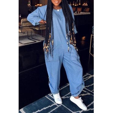 Lovely Casual O Neck Pocket Patched Blue One-piece Jumpsuit