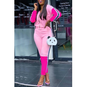 Lovely Street Hooded Collar Patchwork Pink Two-piece Pants Set