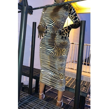 Lovely Chic Patchwork Leopard Printed Mid Calf Dress