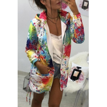 Lovely Trendy Hooded Collar Printed White Coat