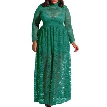 Lovely Casual See-through Green Ankle Length Plus Size Dress