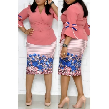 Lovely Casual V Neck Printed Pink Plus Size Two-piece Skirt Set