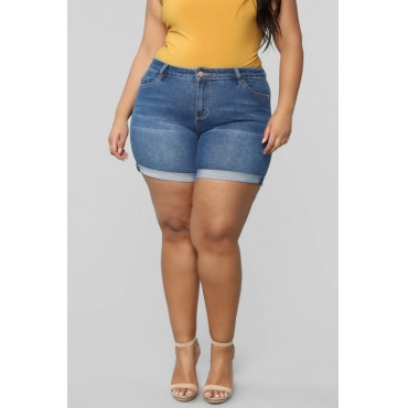 Lovely Casual Zipper Design Blue Plus Size Shorts