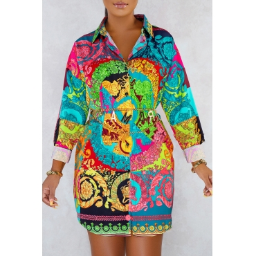 Lovely Casual Turndown Collar Printed Multicolor Mini Dress(Without Belt)