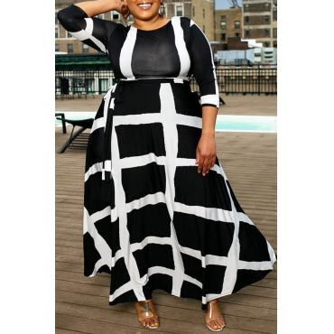Lovely Casual Plaid Printed Black Ankle Length Plus Size Dress