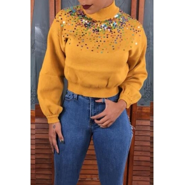 Lovely Trendy Turtleneck Sequined Decorative Yellow Sweater