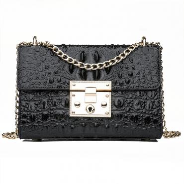 Lovely Trendy Chain Strap Black Crossbody Bag