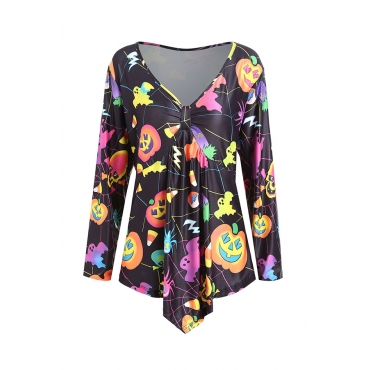 Lovely Casual V Neck Printed Multicolor Plus Size Blouse