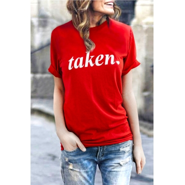 Lovely Casual Round Neck Letters Printed Red Cotton Blends T-shirt