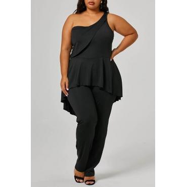 Lovely Casual One Shoulder Flounce Design Black Plus Size One-piece Jumpsuit