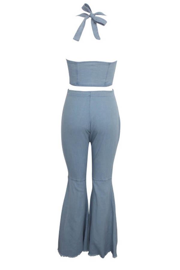 Lovely Chic Zipper Design Blue Two-piece Pants Set