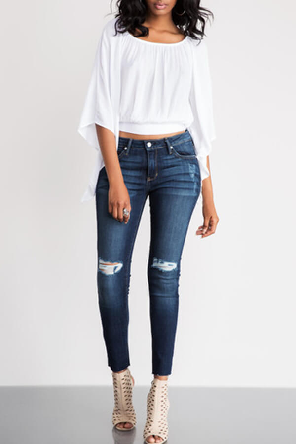 LW Casual O Neck Hollow-out Lace-up White Blouse