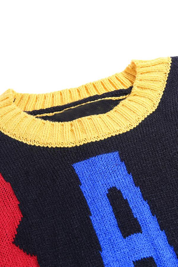 Lovely Leisure Letter Black Sweater