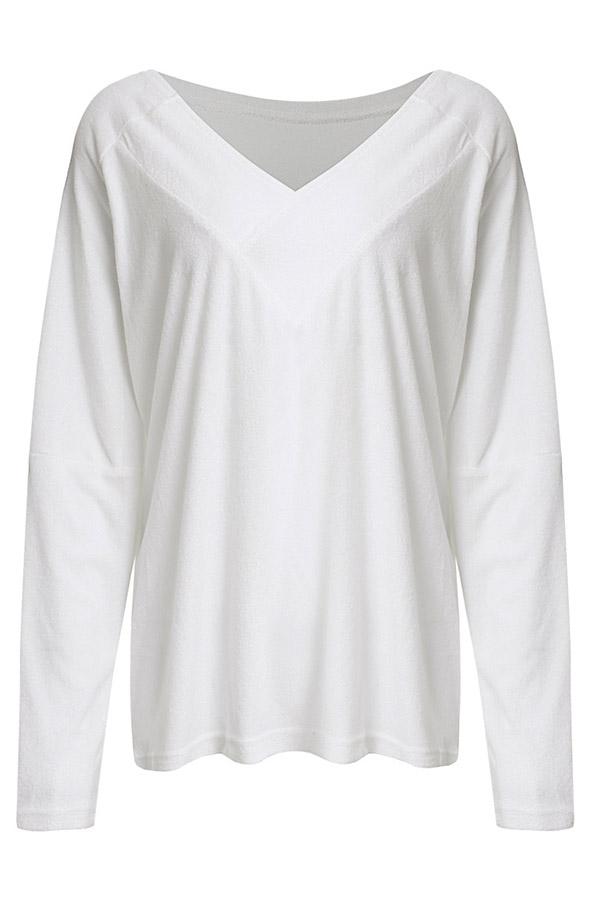 Lovely Leisure V Neck White T-shirt