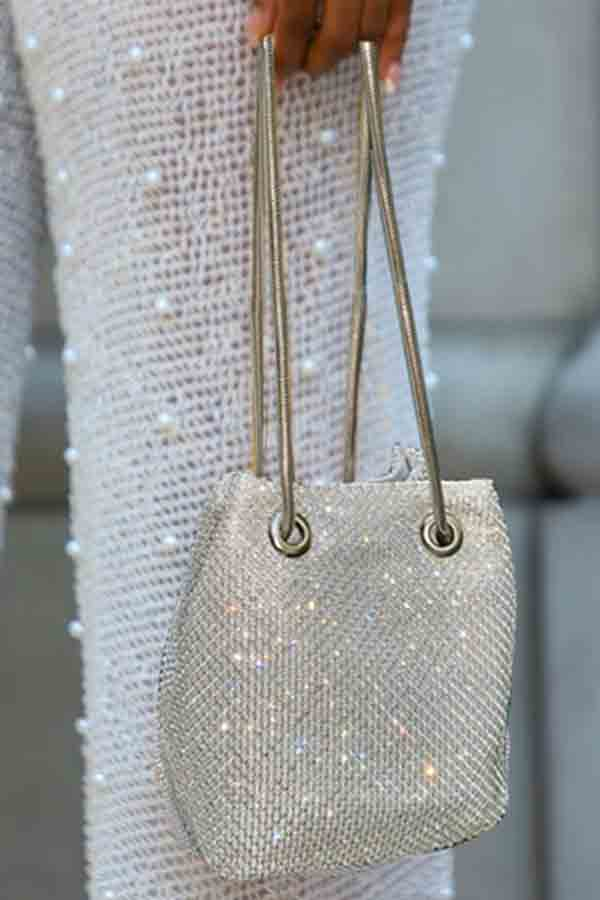 Lovely Trendy Chain Strap Silver Crossbody Bag