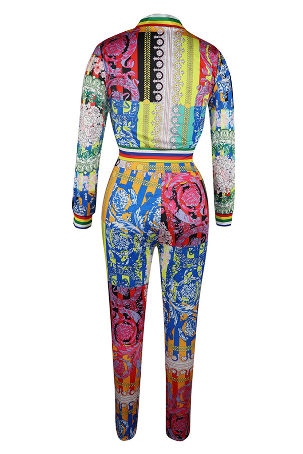 Lovely Casual Mandarin Collar Printed Multicolor Two-piece Pants Set(With Elastic)