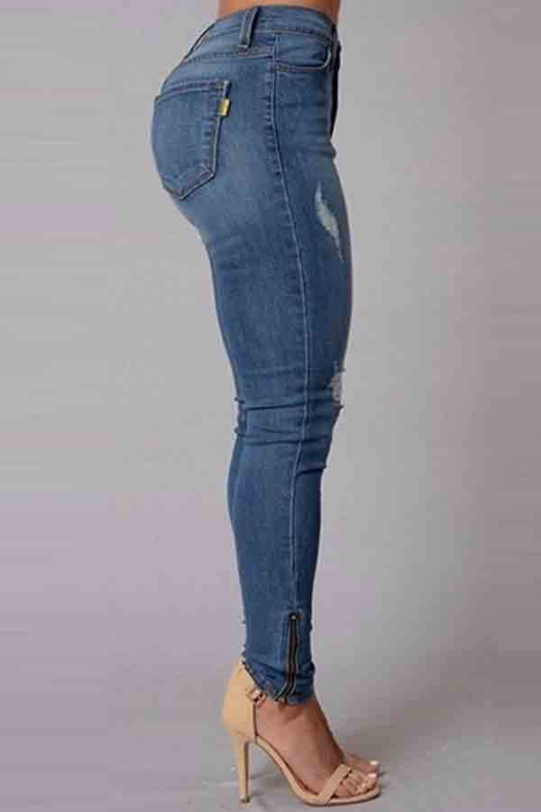 Lovely Trendy Broken Holes Skinny Blue Jeans
