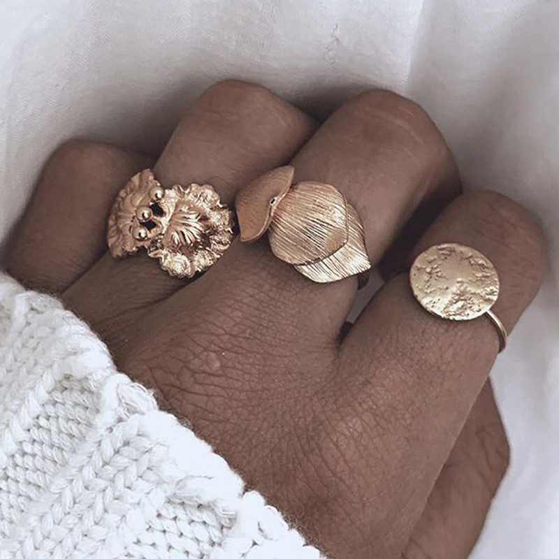 Lovely Trendy Three-piece Gold Ring