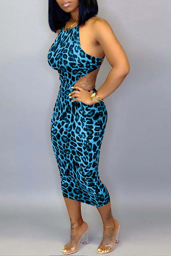 Lovely Sexy Leopard Printed Blue Mid Calf Dress