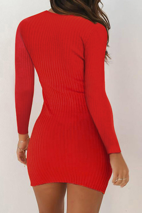 Lovely Casual Skinny Red Mini Dress