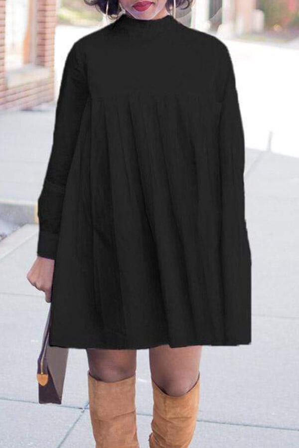 Lovely Trendy Turtleneck Black Mini T-shirt Dress