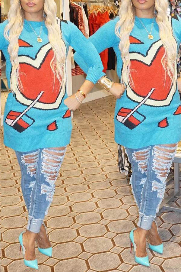 Lovely Trendy O Neck Heart Blue Sweater